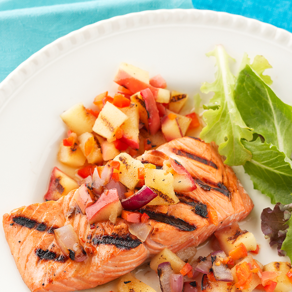Grilled Salmon with Apple-Onion Relish Diabetic Living Magazine