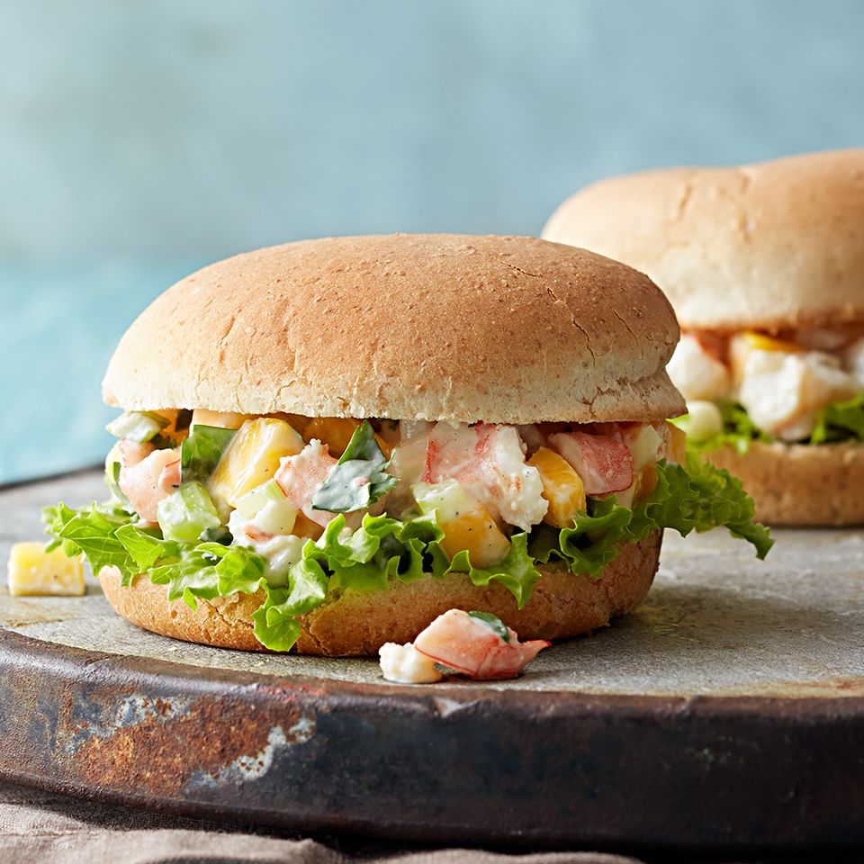Slightly reminiscent of lobster rolls, these sandwiches offer up a delicious combination of shrimp and mango mixed with a lemony mustard-yogurt sauce. By using Greek yogurt instead of mayonnaise, we've reduced calories and fat. Source: Diabetic Living Magazine
