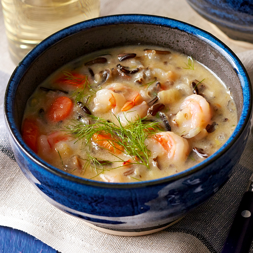 Bold fennel and mild leeks add incredible flavor to this hearty wild rice and shrimp soup recipe. Source: Diabetic Living Magazine
