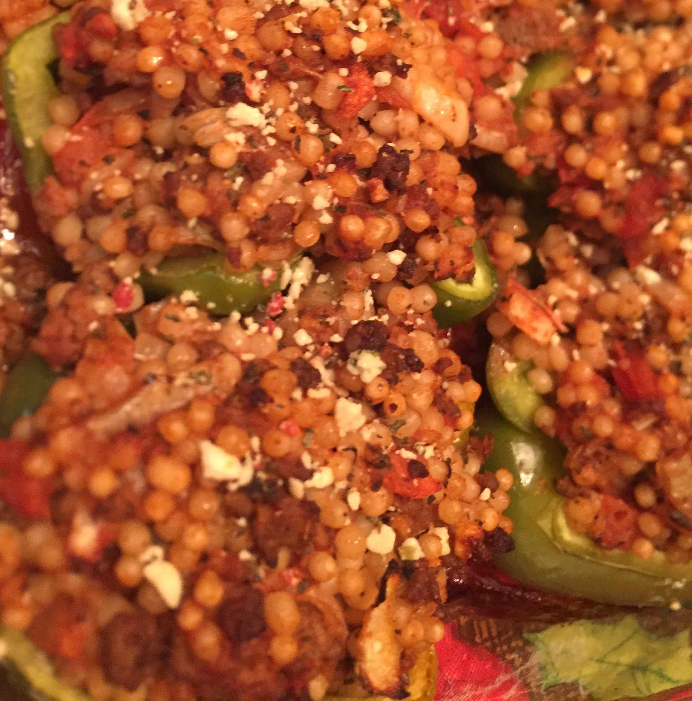 Turkey and Couscous-Stuffed Peppers with Feta