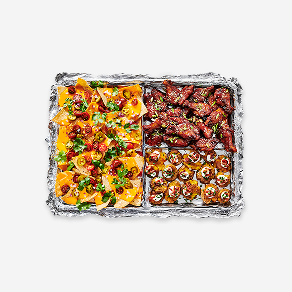 Sheet Pan Nachos, Sticky Sesame Ginger Wings, and Smashed Loaded Potatoes from Reynolds Wrap® Reynolds Kitchens(R)