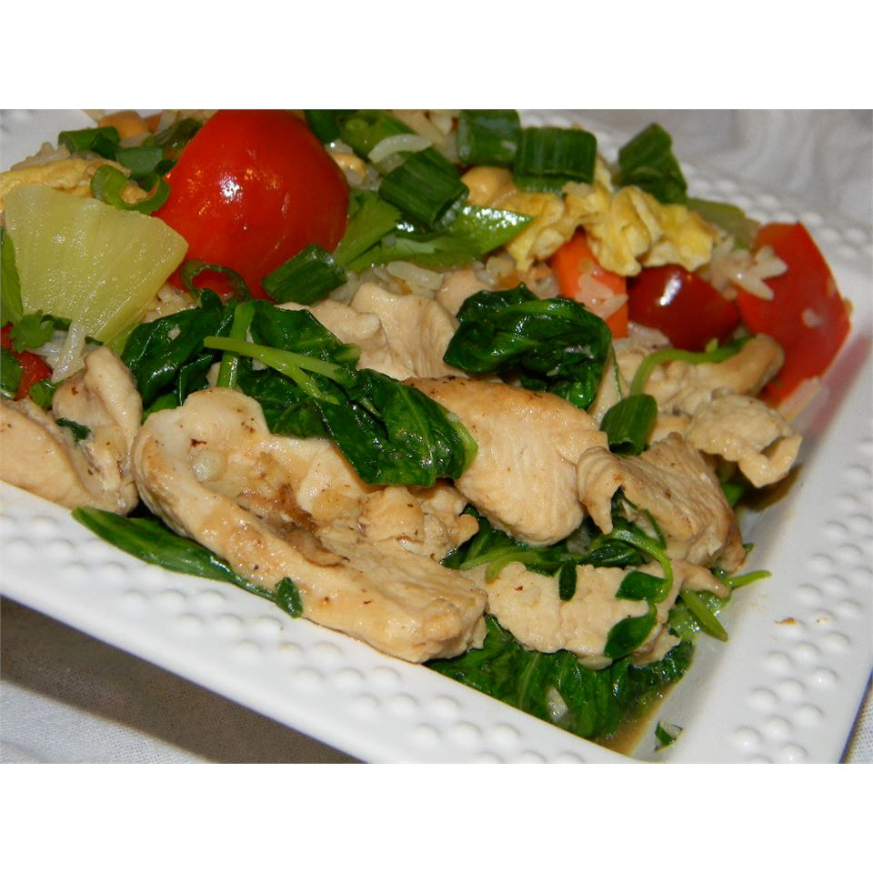 Pea Shoots and Chicken in Garlic Sauce AvelaineS