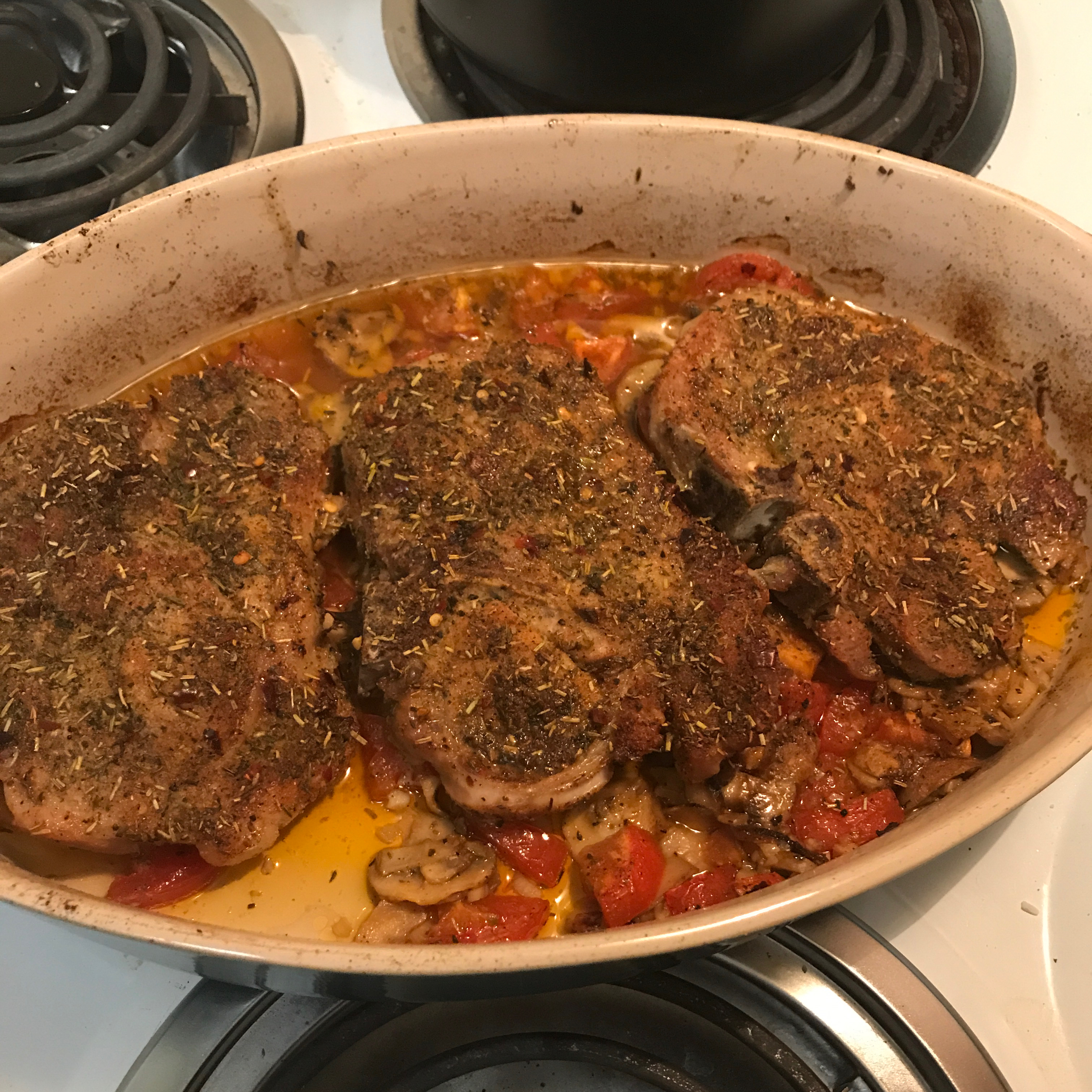 Roasted Pork Chops with Tomatoes, Mushrooms, and Garlic Sauce ChefdragonMouse