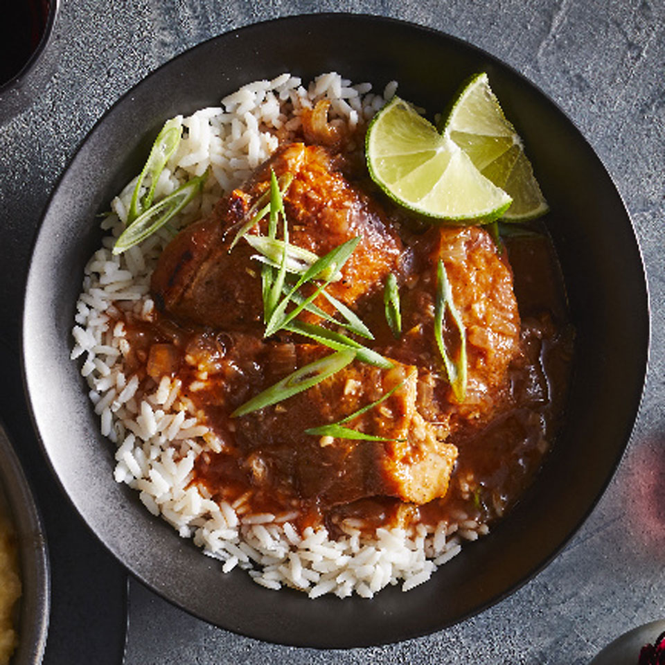 Browning the chicken and sautéing the aromatics before everything goes into the crock pot is key to building the flavors in our version of this popular curry. Source: EatingWell Magazine, January/February 2019