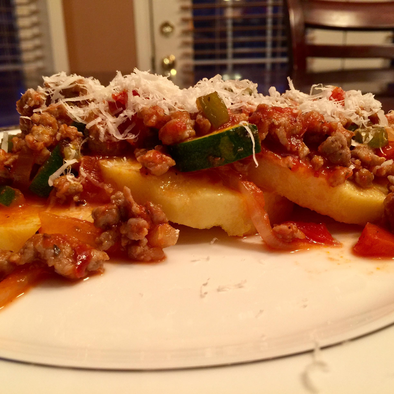 Polenta with Spicy Sausage-Veggie Sauce