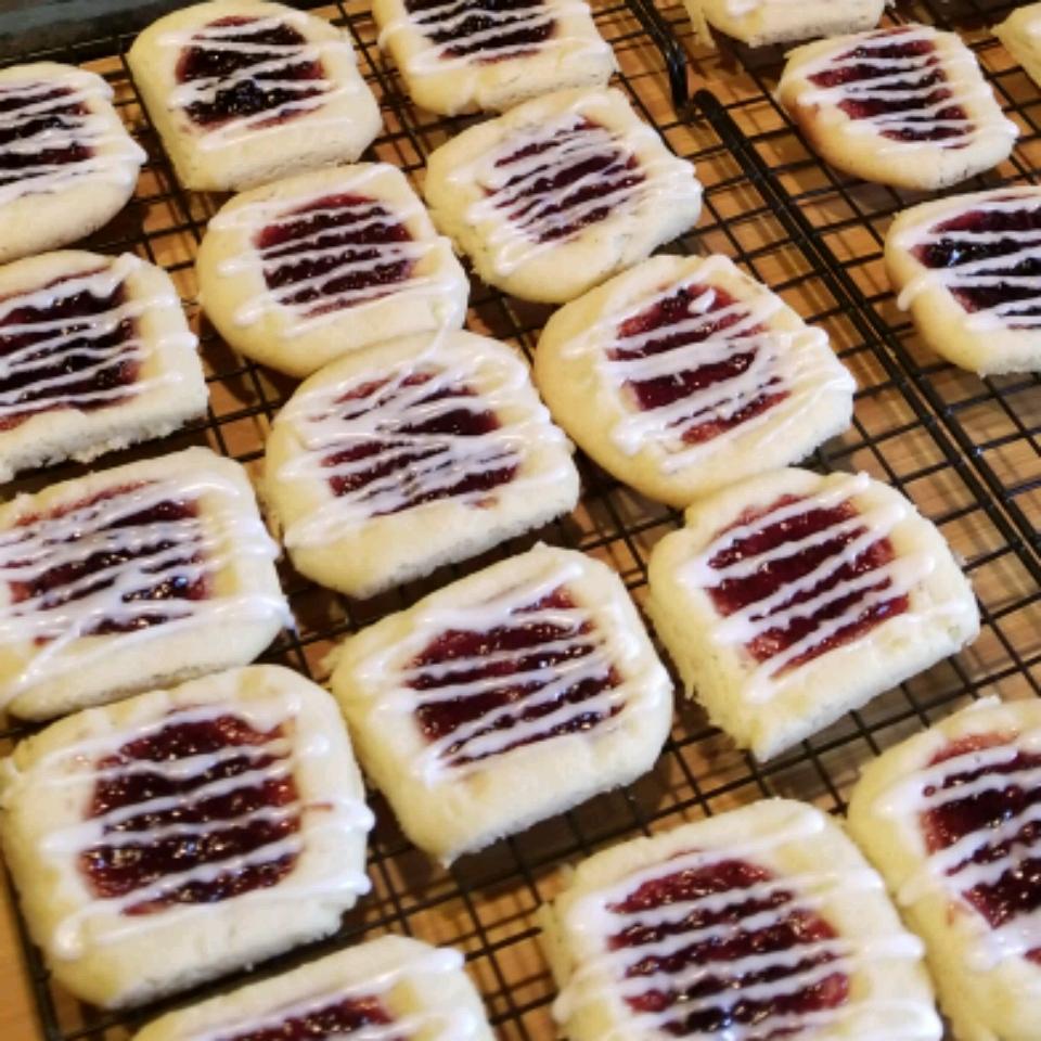 Raspberry and Almond Shortbread Thumbprints Rebecca Ellison