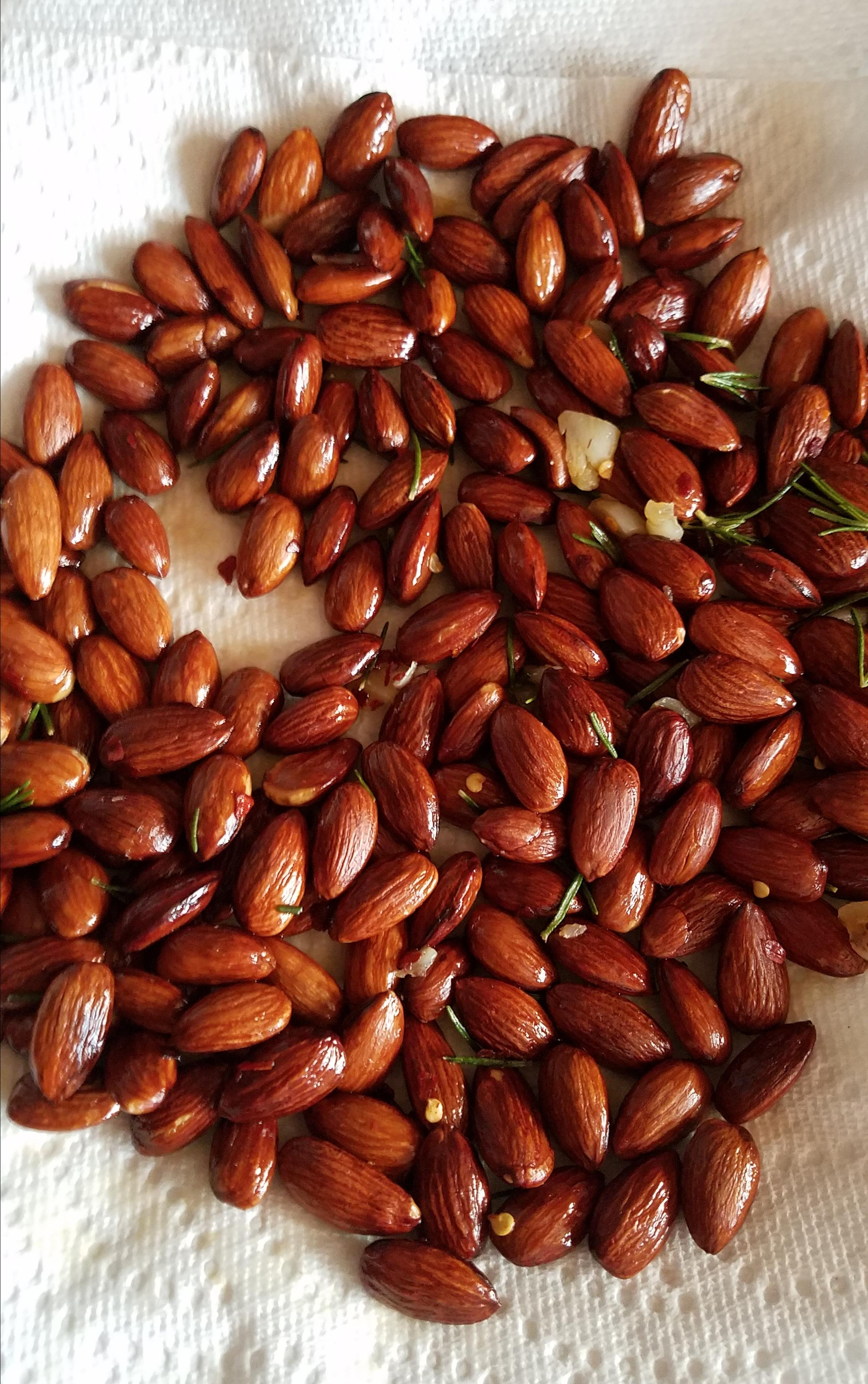 Rosemary and Garlic Infused Oven Roasted Almonds