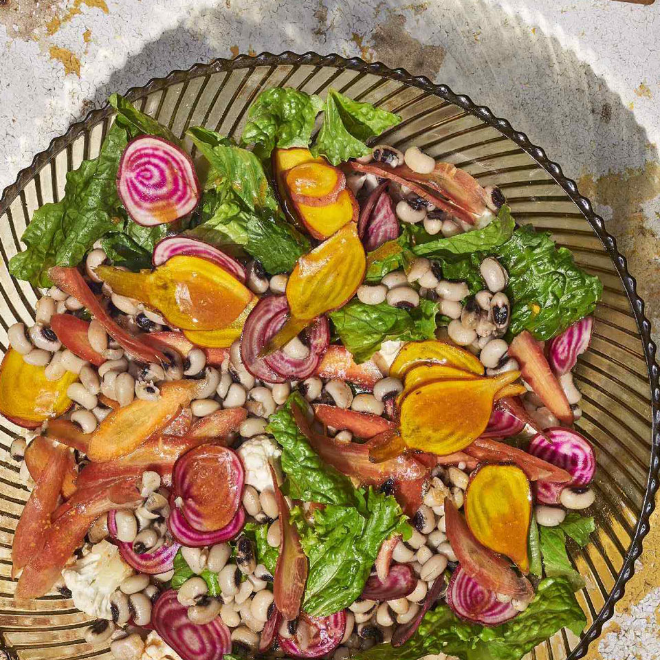 Chopped Salad with Black-Eyed Peas & Hot Sauce Vinaigrette Genevieve Ko