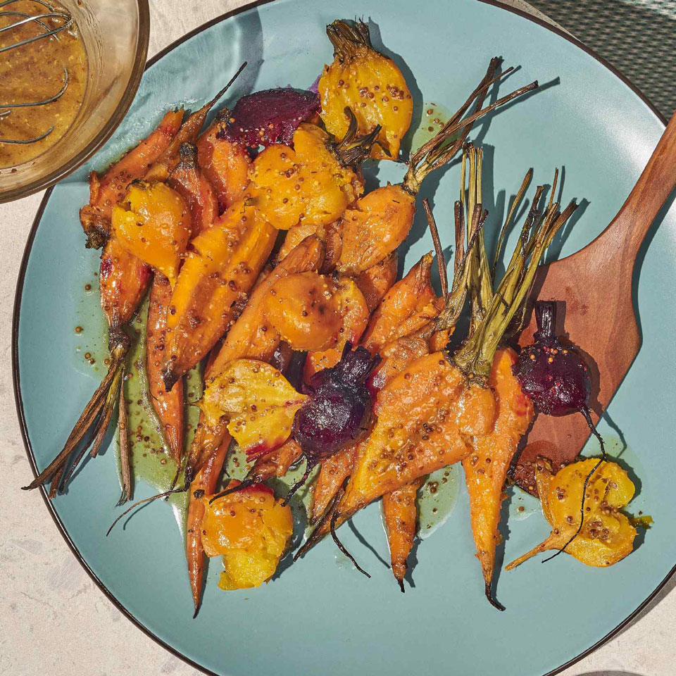 Smashed Root Vegetables with Mustard Vinaigrette Genevieve Ko