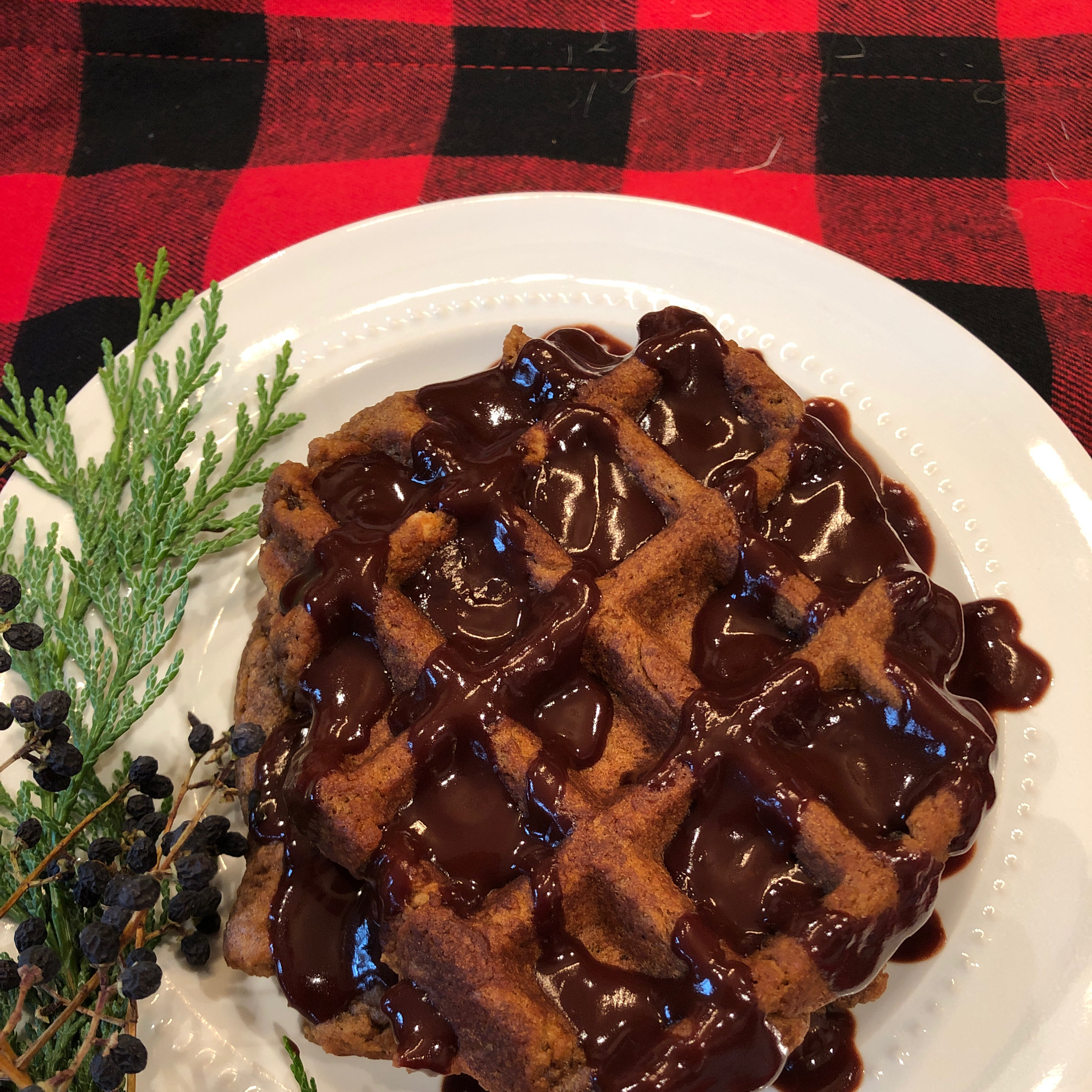 Gingerbread Waffles with Hot Chocolate Sauce Kathy K