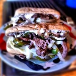 Philly Cheesesteak Sandwich with Garlic Mayo darrinsden