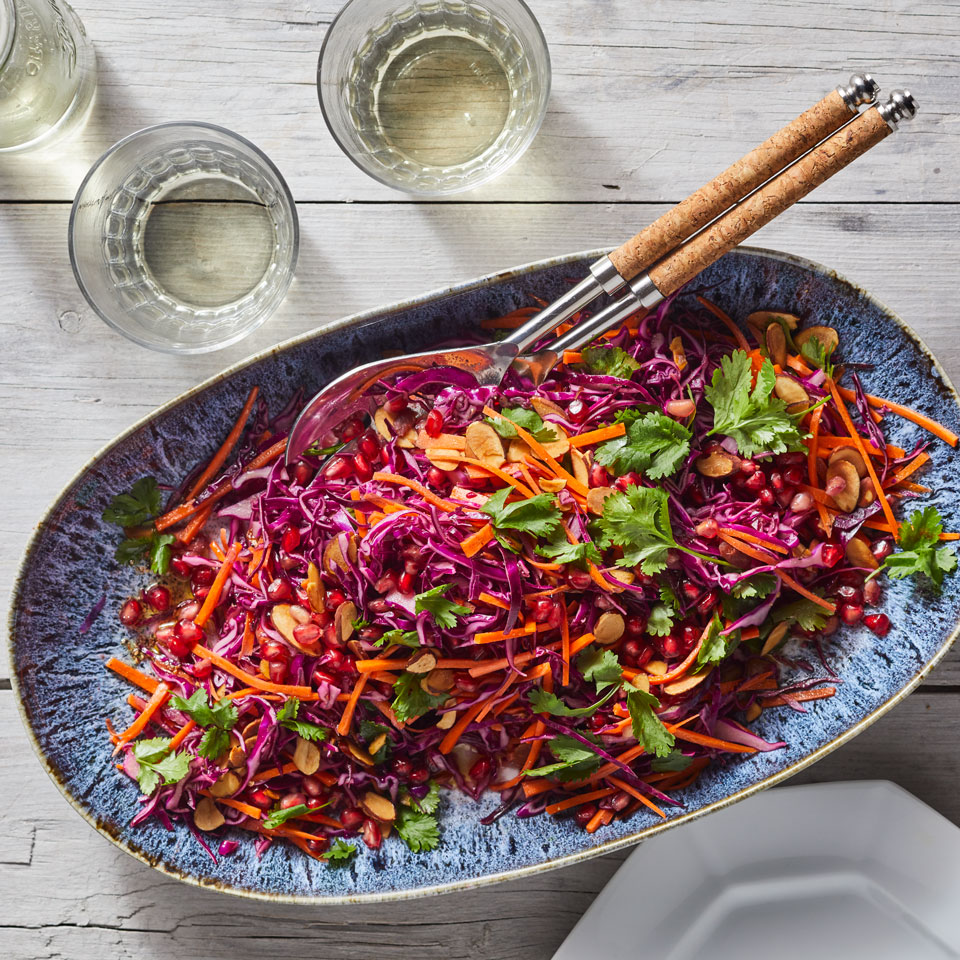 Honey helps balance out the harshness of cruciferous cabbage in this fresh and crunchy slaw recipe. The colors in this easy-to-make salad are enough to brighten one's spirits. In fact, research shows that simply looking at purple plants can fire up neurons that help us relax, so take a moment to appreciate this beautiful salad before you dig in. Source: EatingWell Magazine, January/February 2019