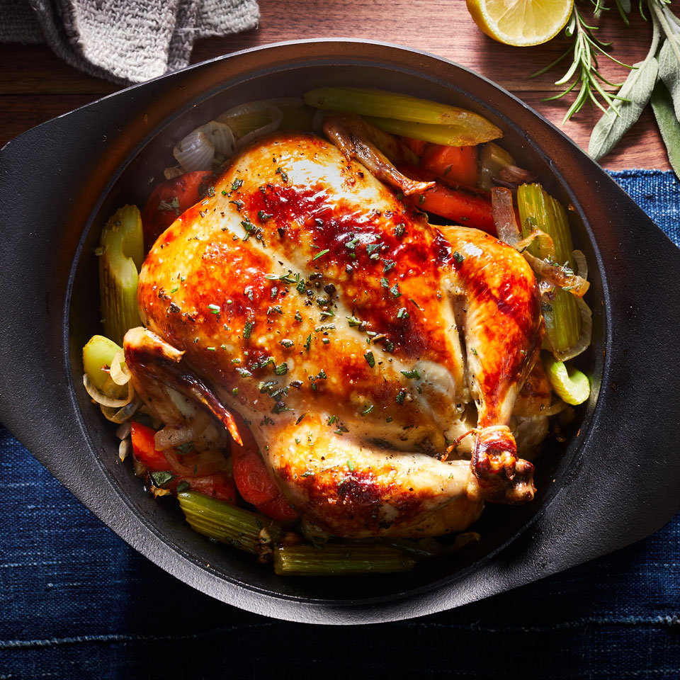 This roasted chicken recipe may be the most useful recipe you'll ever find. It's a meal on its own or the start of any recipe that calls for cooked chicken--perfect for meal-prepping lunches or dinners to have throughout the week. Source: EatingWell Magazine, January/February 2019