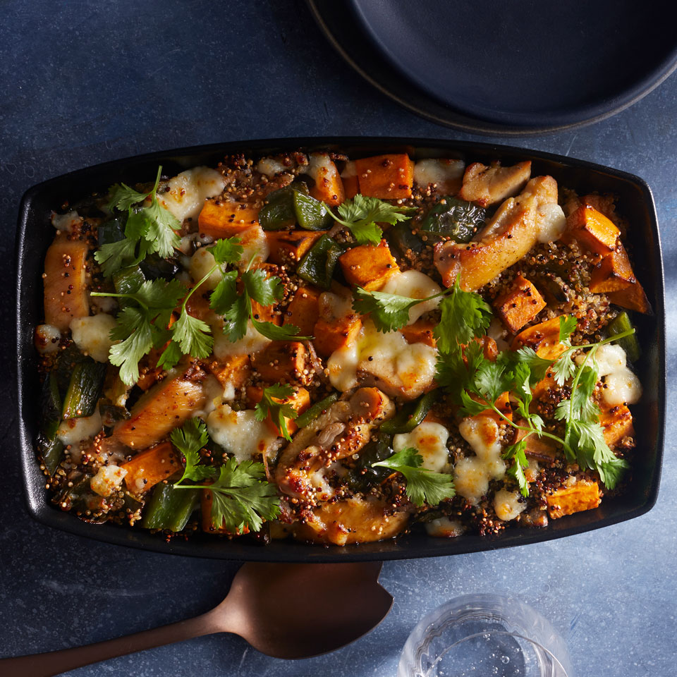 This protein-loaded chicken and sweet potato casserole dish is made with multicolored quinoa, a blend of white, red and black varieties, but any color will work. Source: EatingWell Magazine, January/February 2019