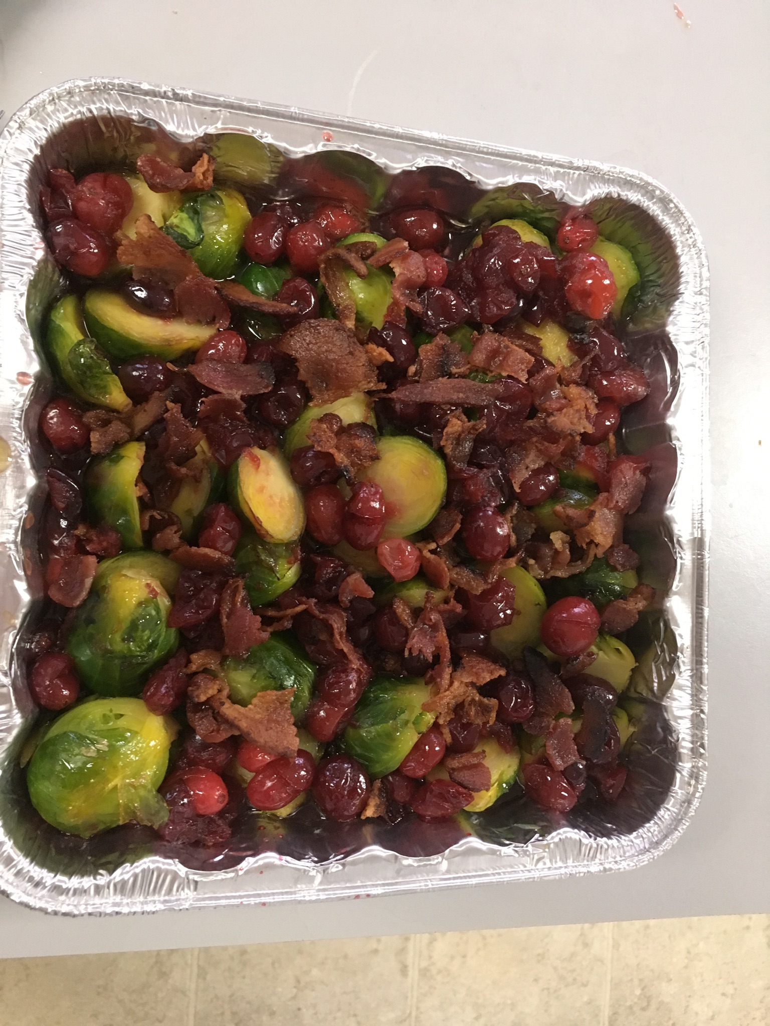 Maple-Roasted Brussels Sprouts with Apples and Cranberries ELEMSI