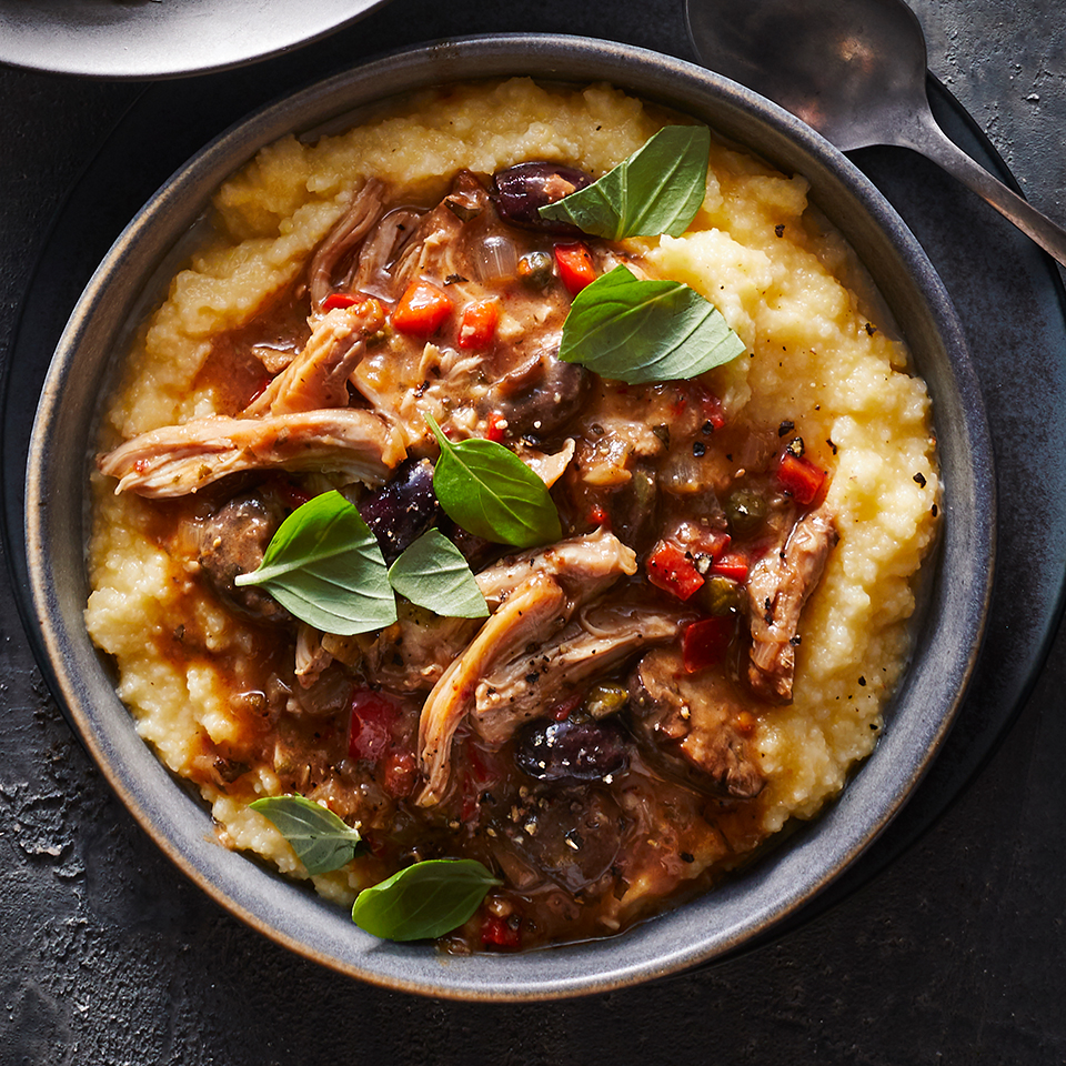 This rustic stew cooks all day in the slow cooker so you can come home to a comforting, hot dinner. Not a fan of polenta? Try this healthy chicken dinner over pasta instead. Source: EatingWell Magazine, January/February 2019