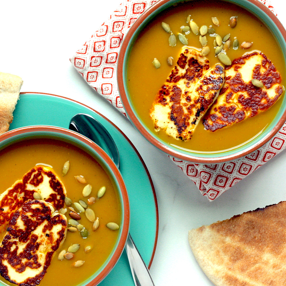 Take advantage of healthy convenience foods, such as pureed vegetable soups, to make a healthy meal in minutes. We enhance the flavor of boxed butternut squash soup with curry powder, then top it with irresistible halloumi cheese. Serve with warm whole-grain pita bread. Source: EatingWell.com, December 2018