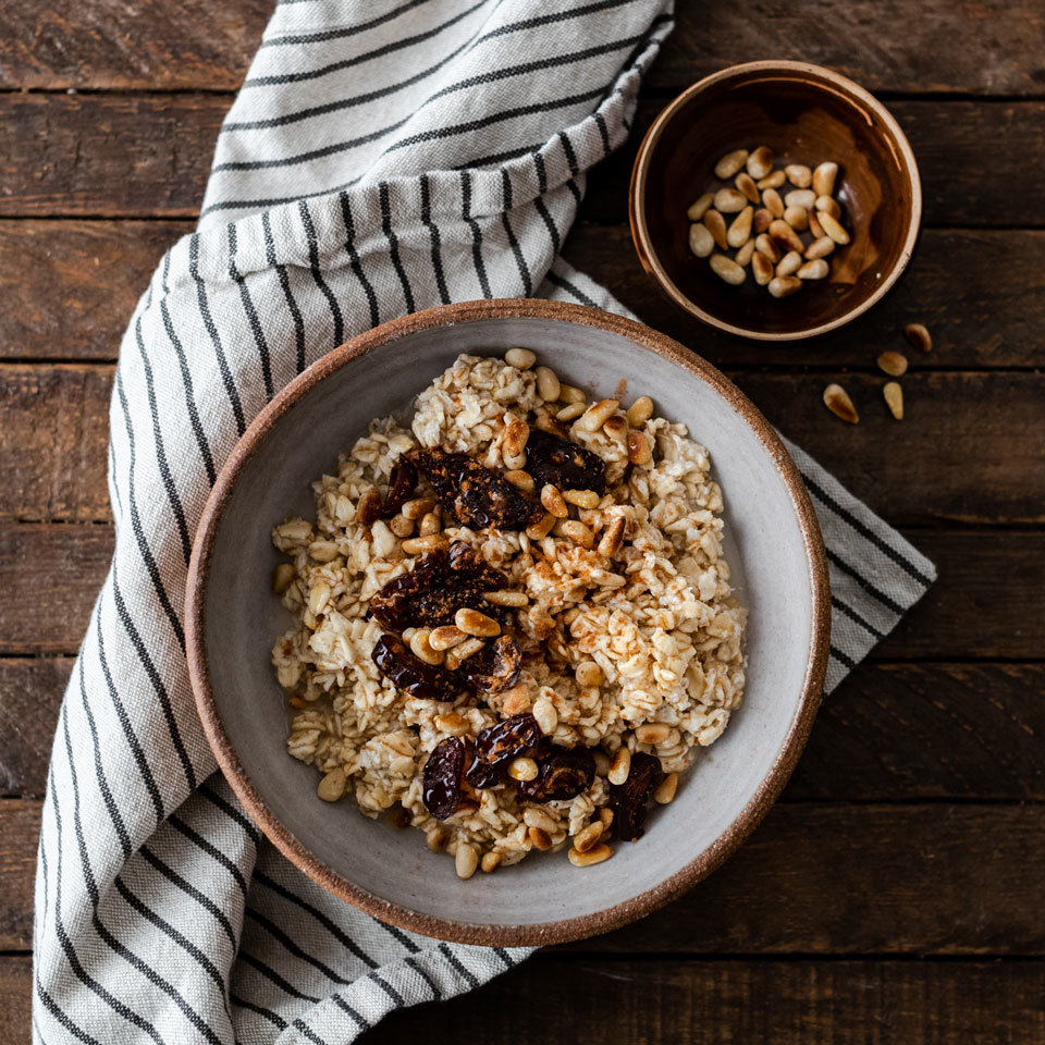 Chopped dates, honey and cinnamon provide natural sweetness to these overnight oats, and pine nuts balance each bite. Source: EatingWell.com, December 2018