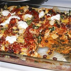 Layered Chicken and Black Bean Enchilada Casserole