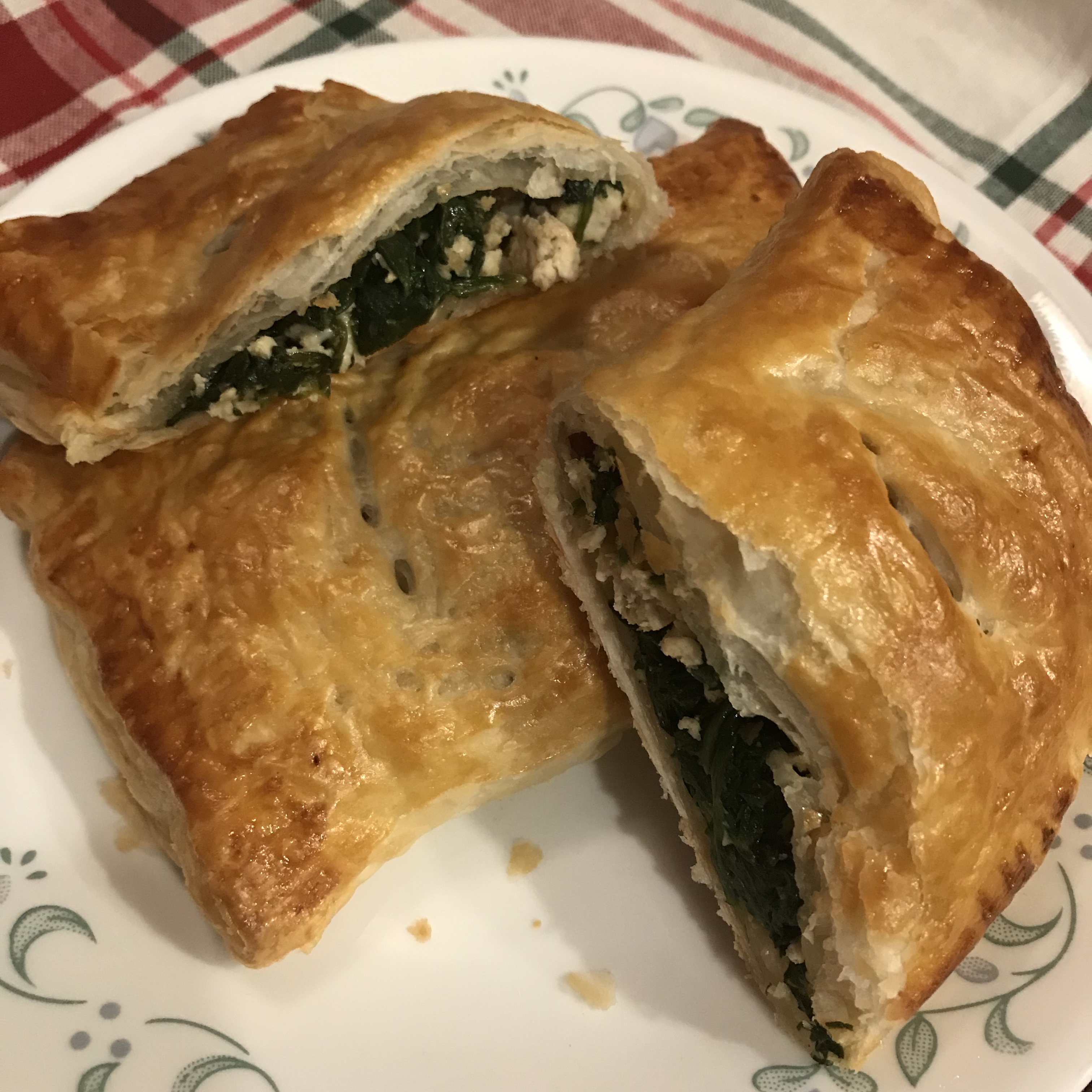 Chicken Spinach Feta Puff Pastry Pockets