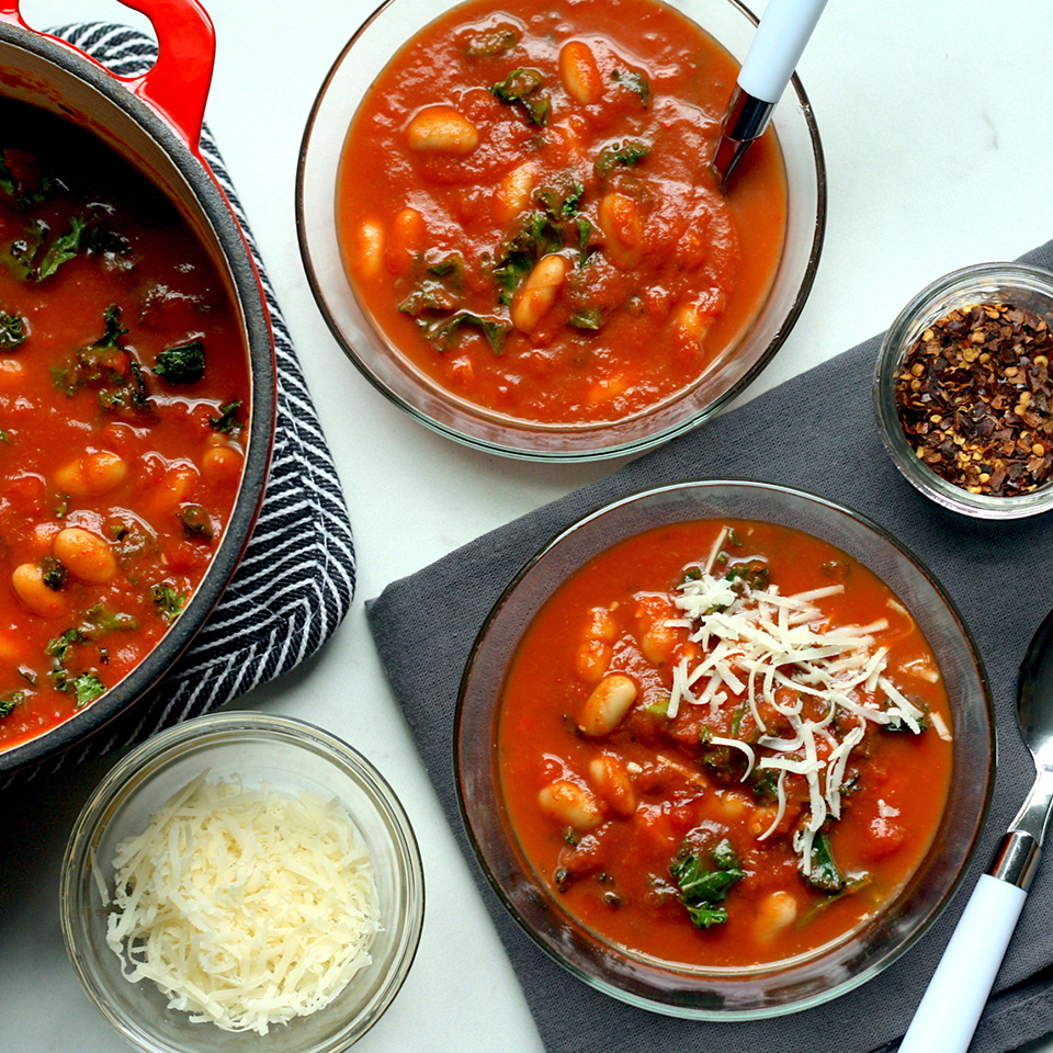 Garlicky kale and creamy white beans elevate simple canned tomato soup into a 10-minute lunch or dinner that really satisfies. Use a soup with tomato pieces for a heartier texture. Look for a brand that's low- or reduced-sodium, with no more than 450 mg sodium per serving. Source: EatingWell.com, January 2019
