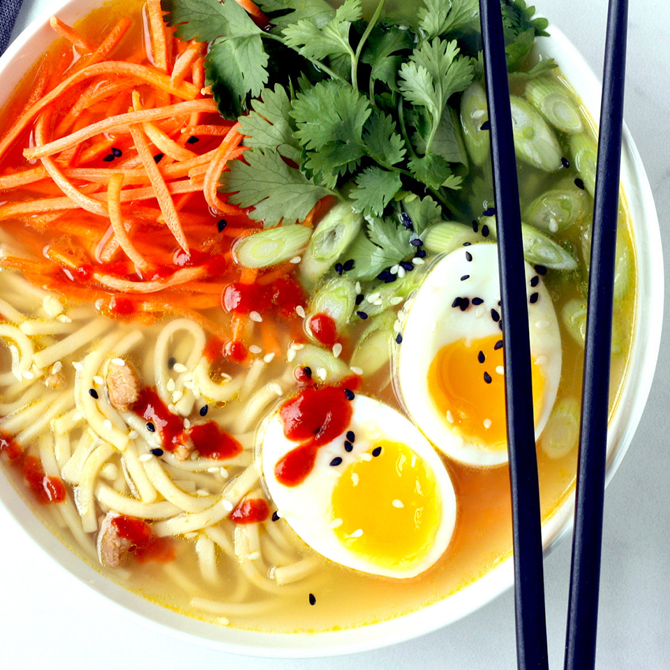 Transform canned chicken noodle soup into quick ramen bowls by adding fresh ginger, crunchy vegetables, herbs and a jammy soft-boiled egg. Look for a low-sodium soup that has 450 mg sodium or less per serving. Source: EatingWell.com, January 2019