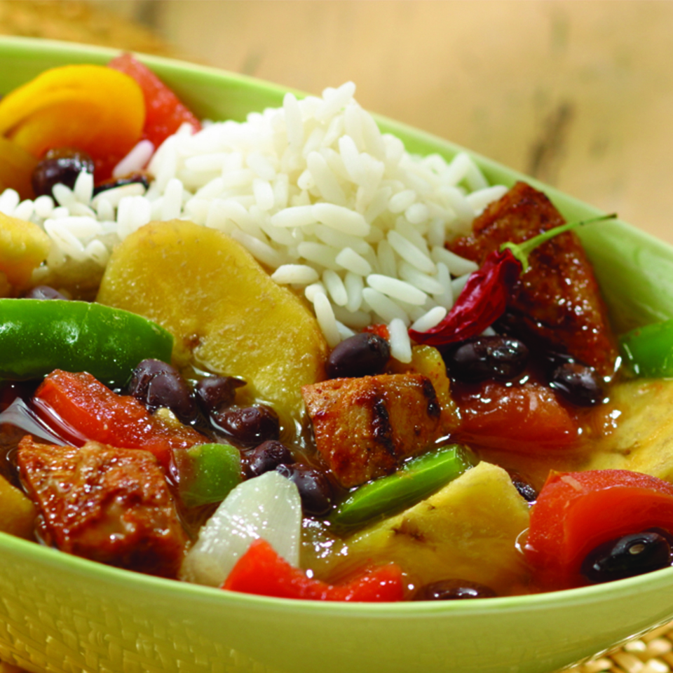 This bean and pork stew recipe, spiced with peppery sweet ginger and piquant cumin, is rich in soluble fiber, which helps protect against heart disease. Source: Diabetic Living Magazine