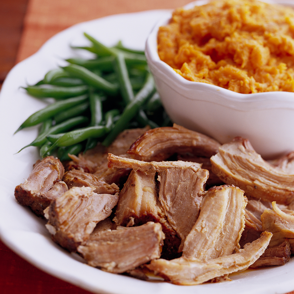 This simple Italian-inspired recipe combines pork shoulder with aromatic fennel. As the pork cooks, its juices drip down to flavor the sweet potatoes that are nestled in the bottom of the slow cooker. Serve with steamed green beans for a complete meal. Source: Diabetic Living Magazine