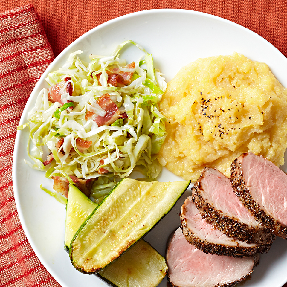 Peppery caraway seeds and spicy celery seeds combine to create an unforgettable dry rub for the pork tenderloin in this dinner recipe. Sides of garlicky polenta and homemade pickled cabbage round out the meal. Source: Diabetic Living Magazine