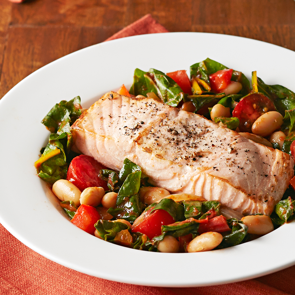 Roasted Salmon with White Bean Ragout Diabetic Living Magazine
