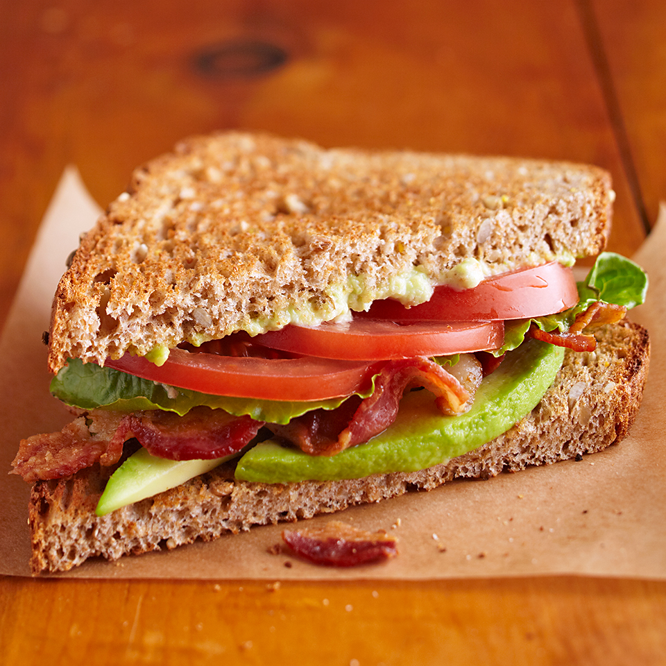 Adding slices of creamy avocado to your traditional BLT sandwich transforms it into something special. Instead of using plain mayonnaise, we've jazzed ours up with mashed avocado, lemon juice, and some minced garlic for a real treat. This recipe is easy and ready in under 30 minutes--perfect for a satisfying family lunch. Source: Diabetic Living Magazine