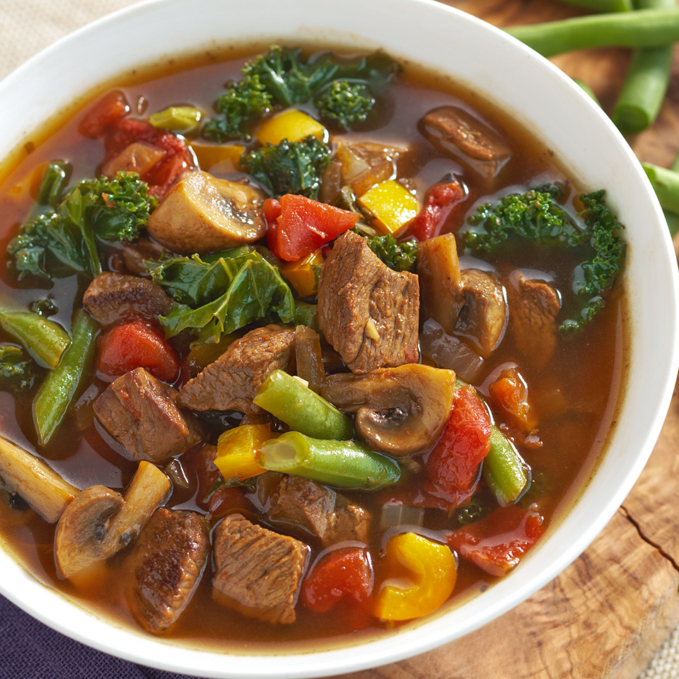 This one-pot, easy-to-make soup is so full of beef and vegetables that it could almost be called a stew. Beans, mushrooms, kale, chunks of tomatoes and beef sirloin will fight for space on each spoonful. Source: Diabetic Living Magazine