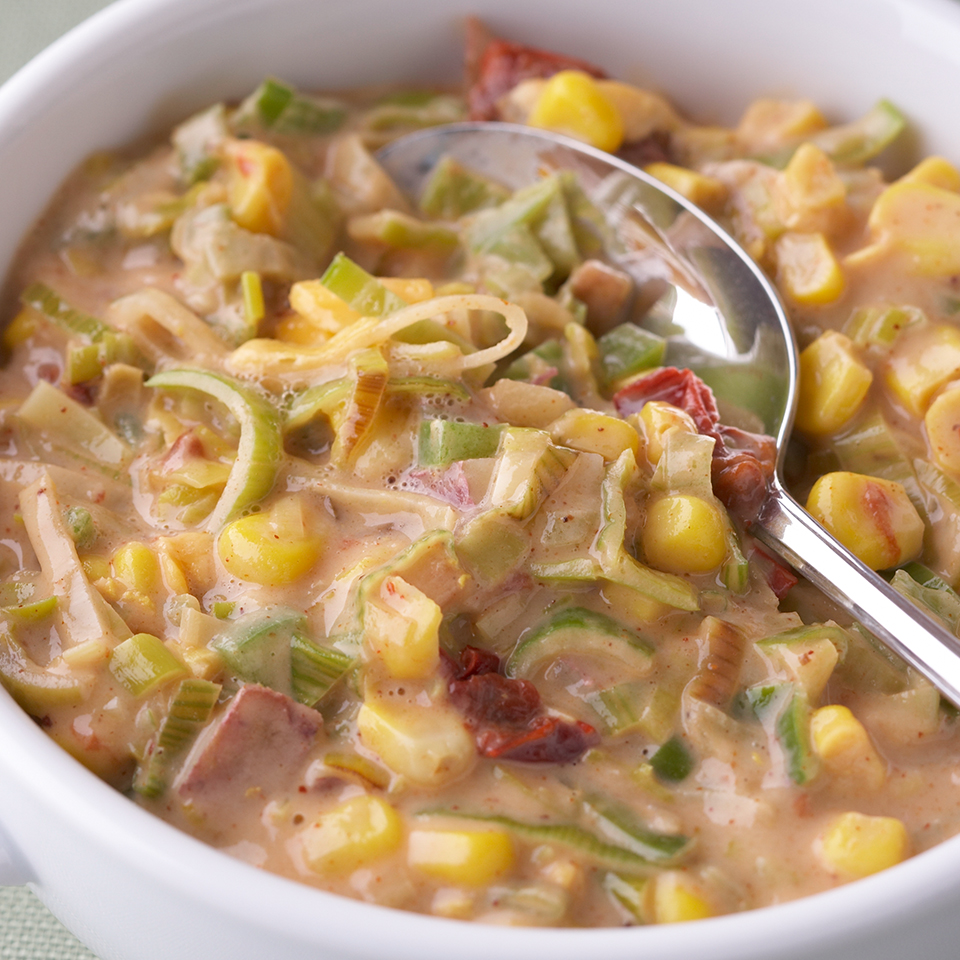 The smoky flavor of the chipotle peppers in this recipe combines with corn to make a bordertown chowder with substance and sizzle; the Southwest at its best! Source: Diabetic Living Magazine