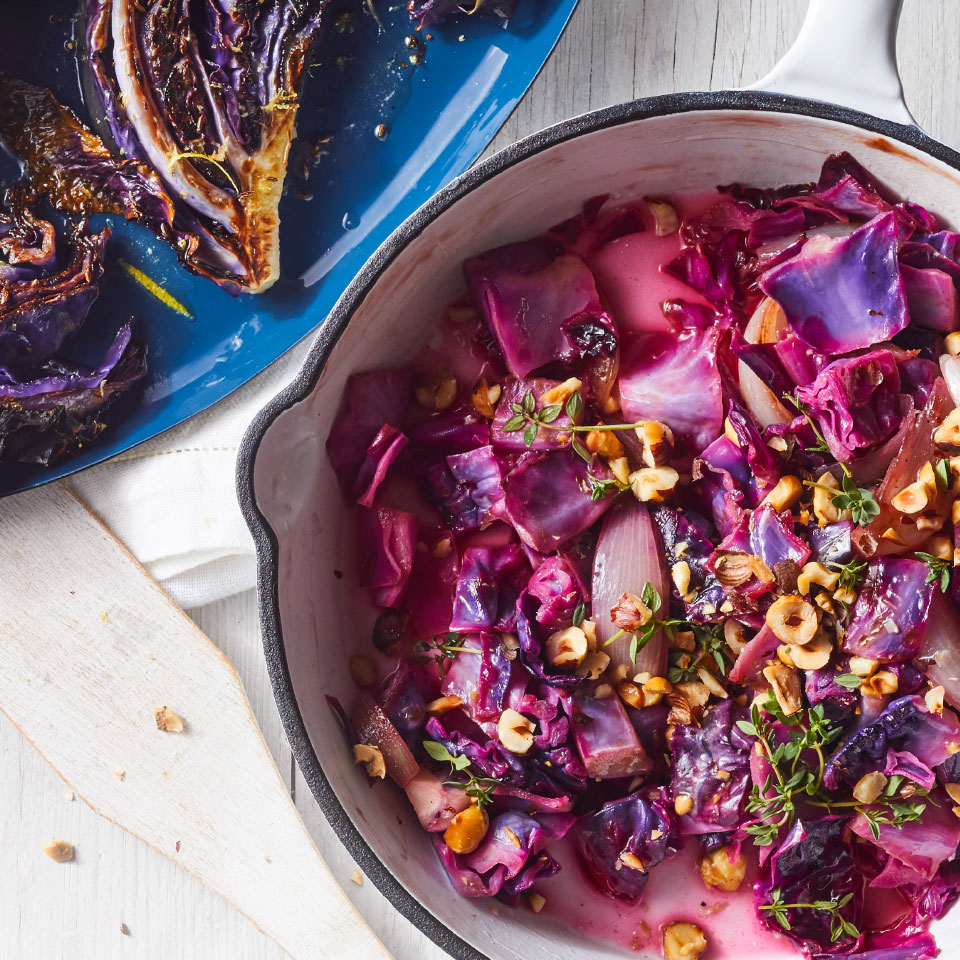 This pan-fried cabbage recipe gets tons of savory flavor from shallots and a delicious nutty crunch from hazelnuts. Serve this easy healthy side dish alongside roast chicken with gravy and mashed potatoes. Source: EatingWell Magazine, January/February 2019