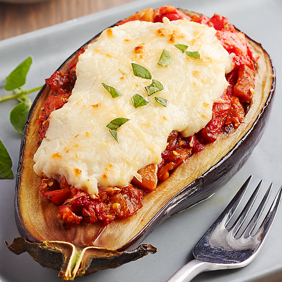 Two favorite Italian dishes--lasagna and eggplant Parm--are rolled into one in this stuffed vegetable recipe. Source: Diabetic Living Magazine