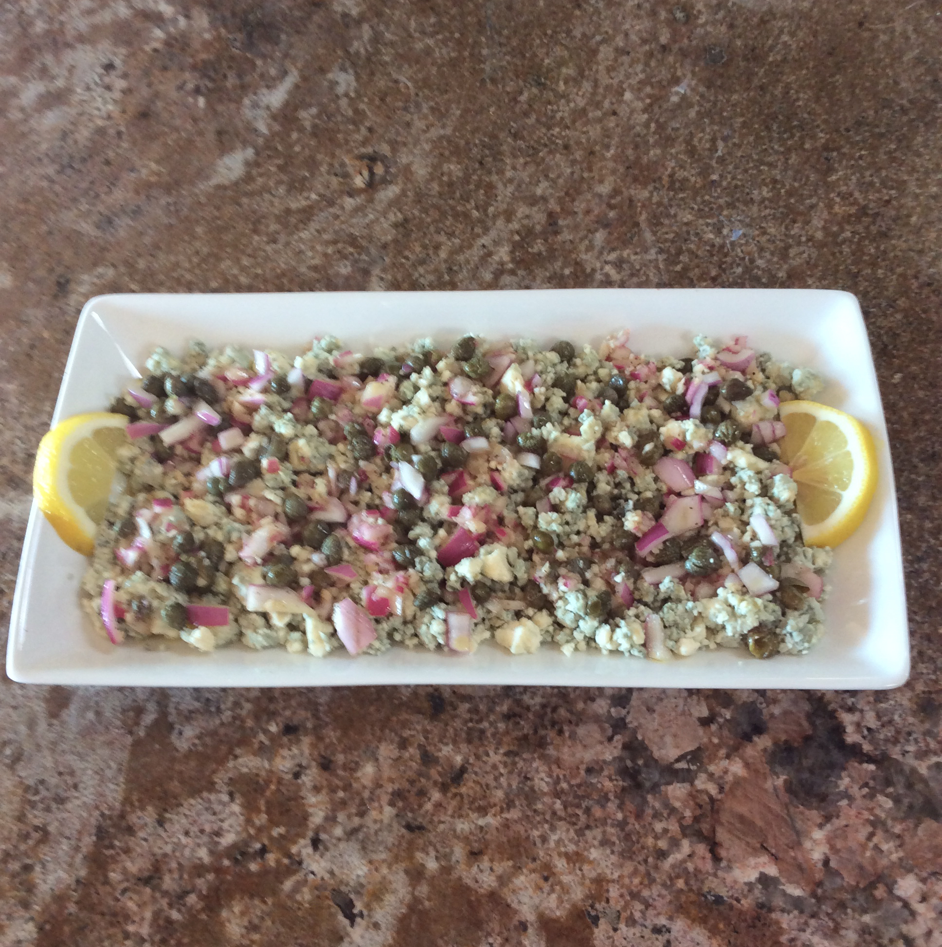 Blue Cheese with Capers and Red Onion