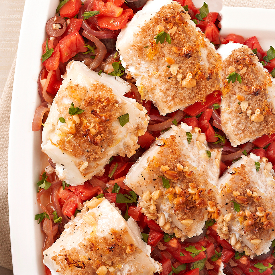 Pine Nut-Crusted Cod with Caramelized Onions & Tomatoes Diabetic Living Magazine
