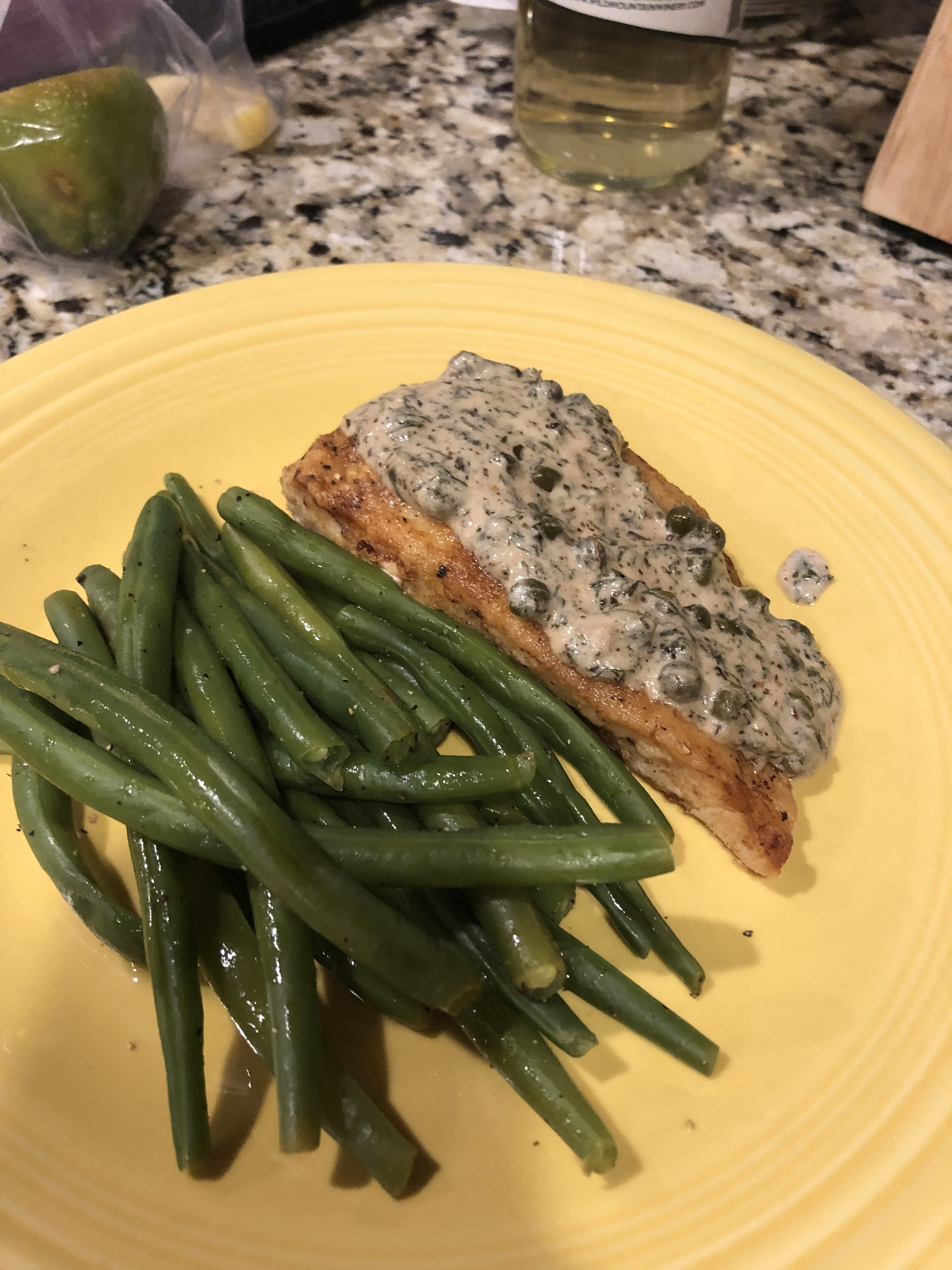 Pan Fried Halibut Steak with Light Green Sauce Michelle Westberg