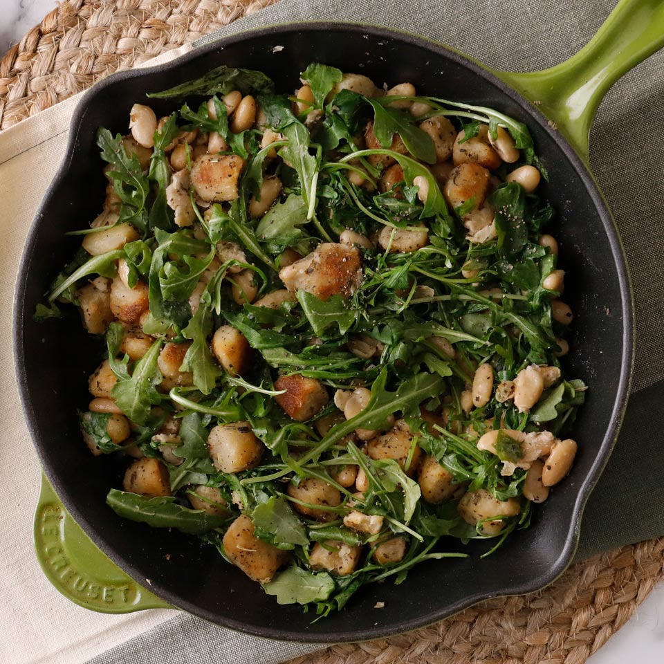 Turn lower-carb cauliflower gnocchi into a complete and satisfying meal with this riff on classic brown butter and sage gnocchi. We added beans to amp up the fiber and protein for a fast and healthy dinner.