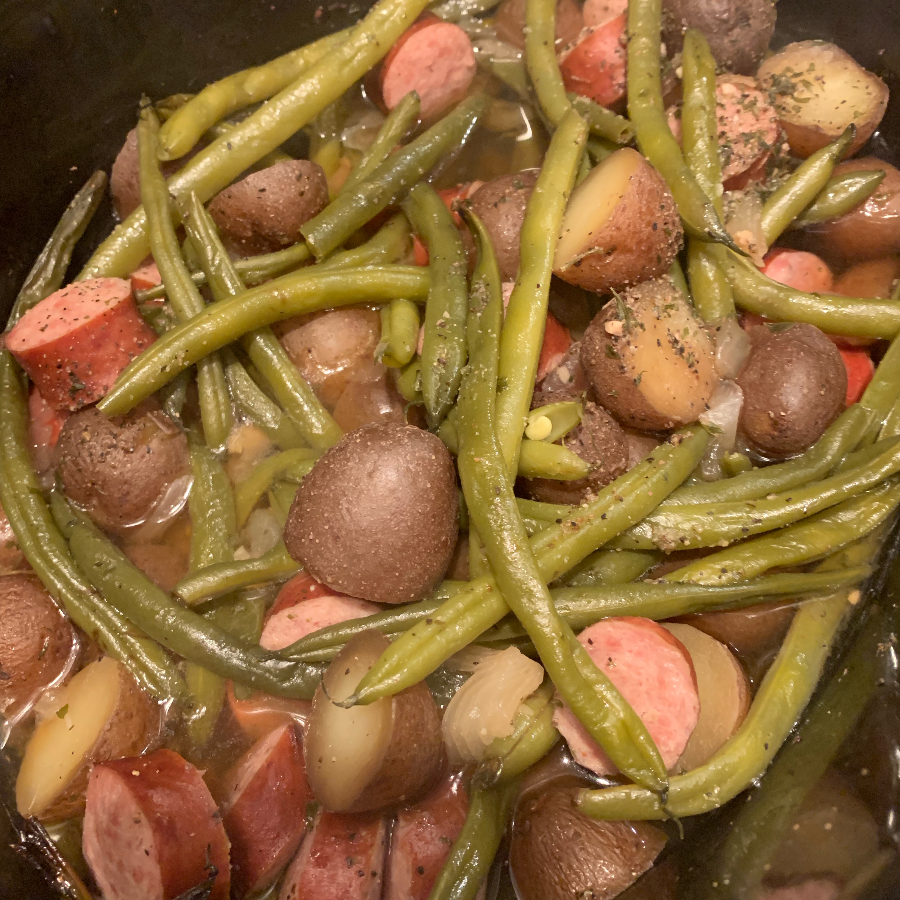 Amy's Po' Man Green Beans and Sausage Dish baconc