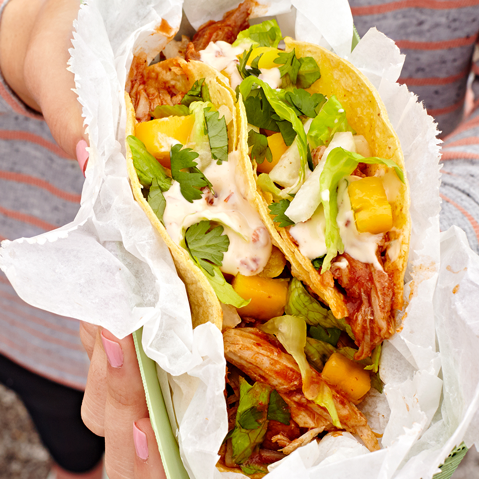 Follow this pork taco recipe as is to serve four and you'll have enough shredded pork leftover to make it again next week. It's so good, however, that we recommend doubling the rest of the ingredients and inviting over four more friends to enjoy everything right away!