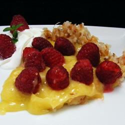 Raspberry-Lemon Pie In a Toasted Coconut Crust