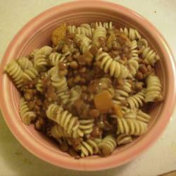 Pasta with Lentil Soup Sauce Johan
