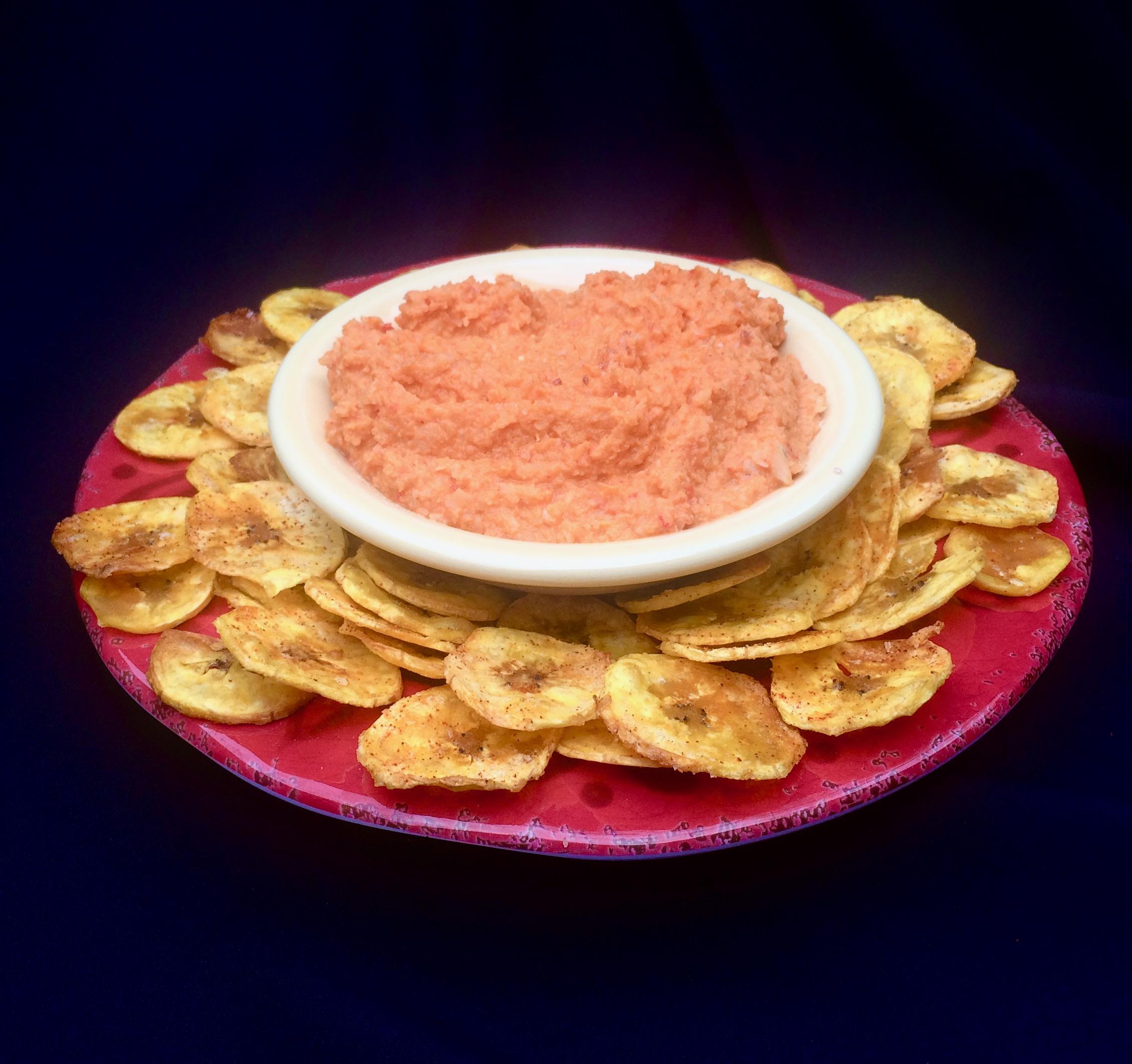 Red Pepper-Cauliflower Hummus with Plantain Chips