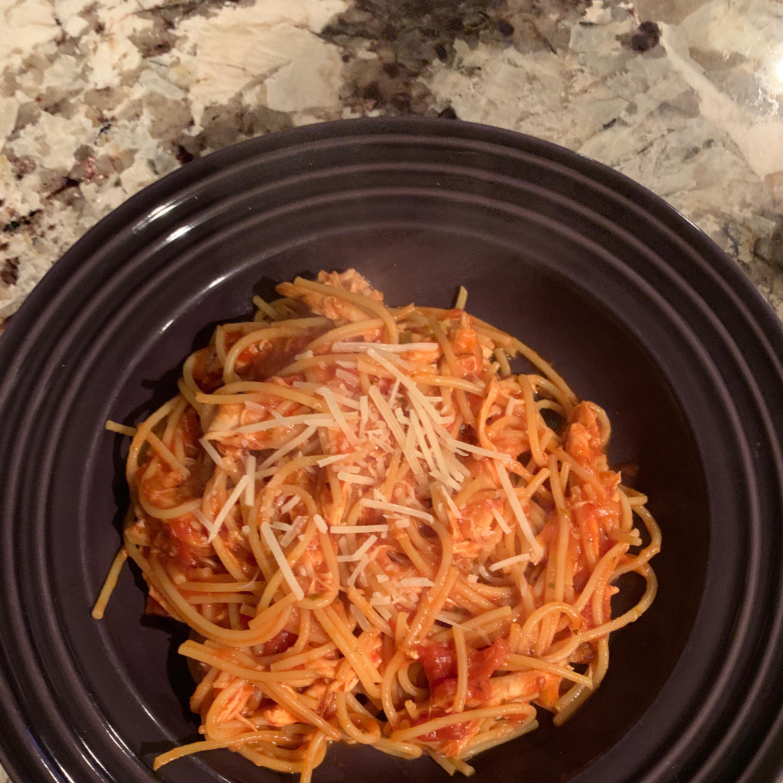 Simple Spaghetti with Chicken, Parmesan and Mozzarella ta2dmama