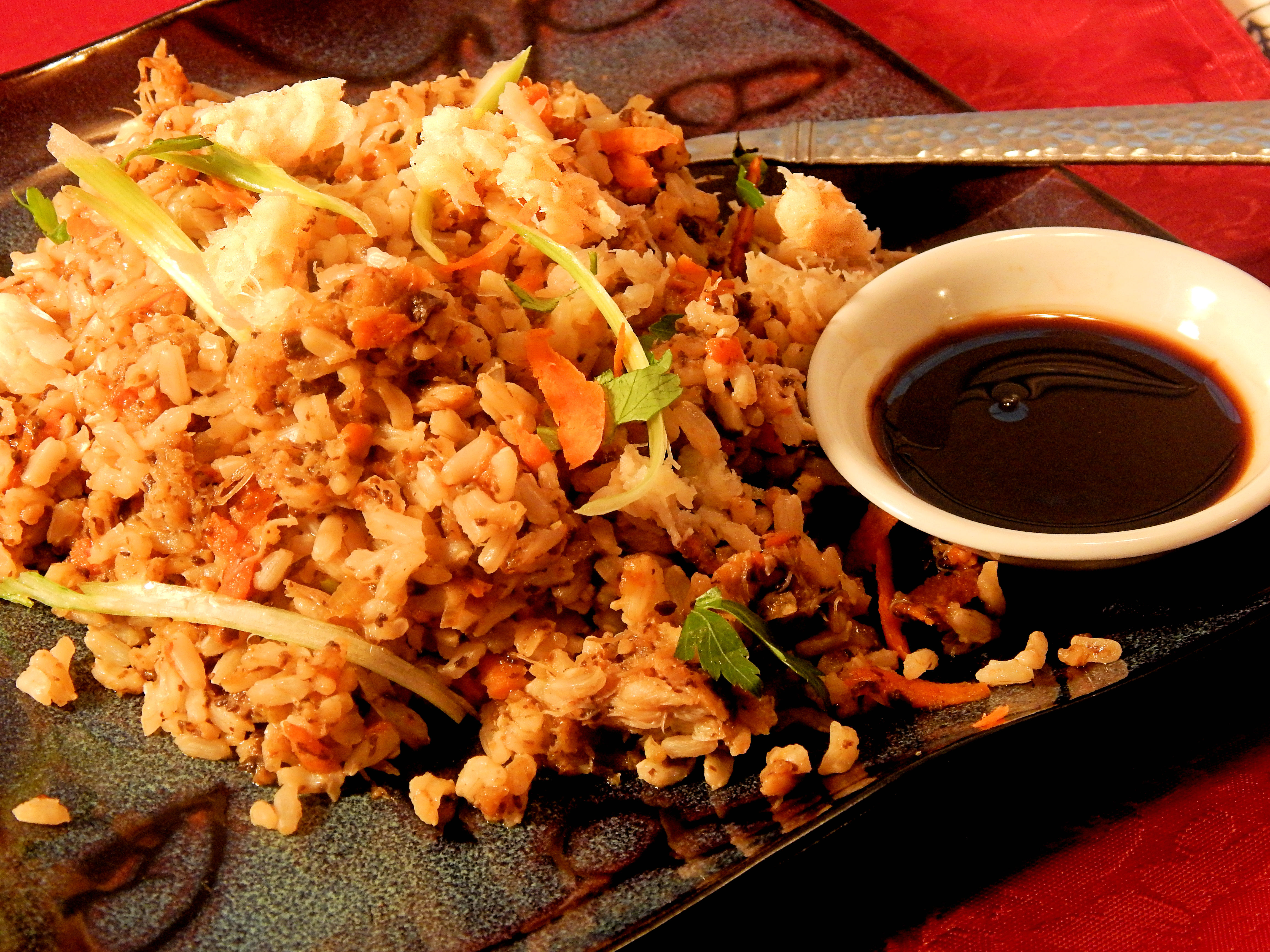 Japanese-Style Crab Fried Brown Rice