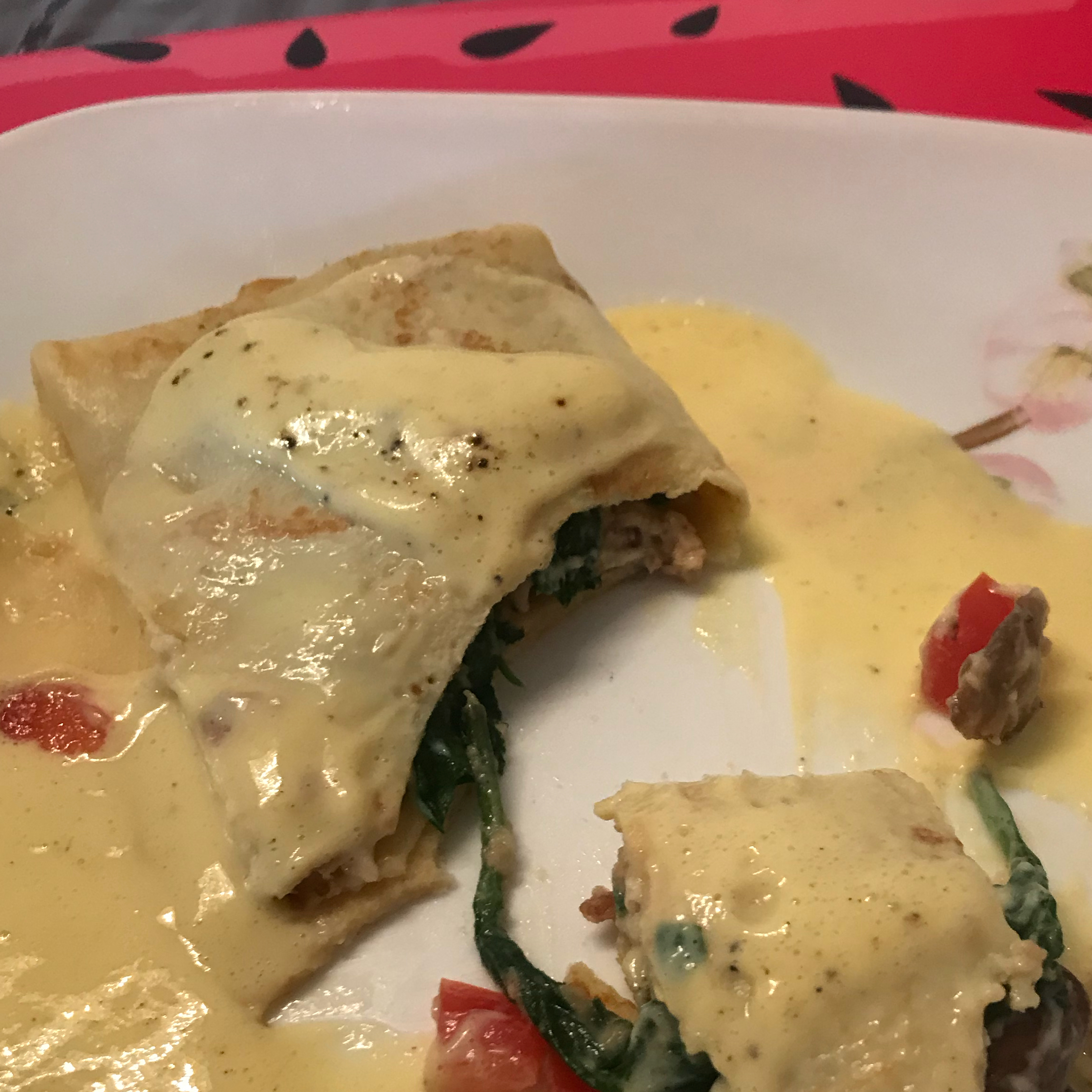 Crepes with Spinach, Bacon and Mushroom Filling Ayshen Tanaka