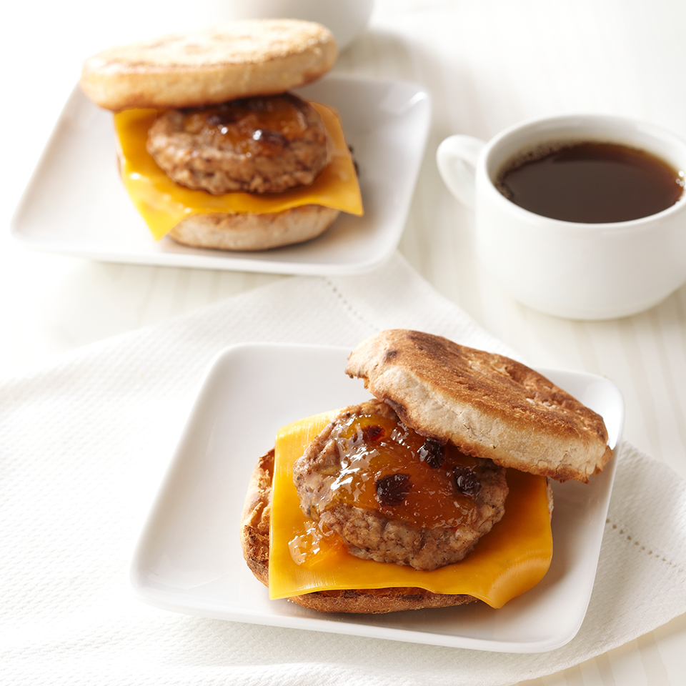 Skip the fast-food take-out sandwich and pack your own the next time you're in a hurry! This scrumptious cheesy breakfast sandwich mixes savory turkey sausage with sweet chutney and takes just minutes to make. Source: Diabetic Living Magazine