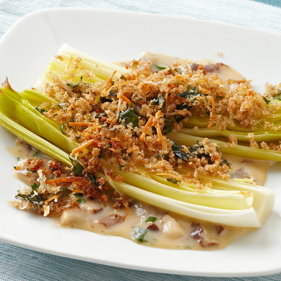 Parmesan Panko Leeks with Herbed Mushroom Cream Sauce