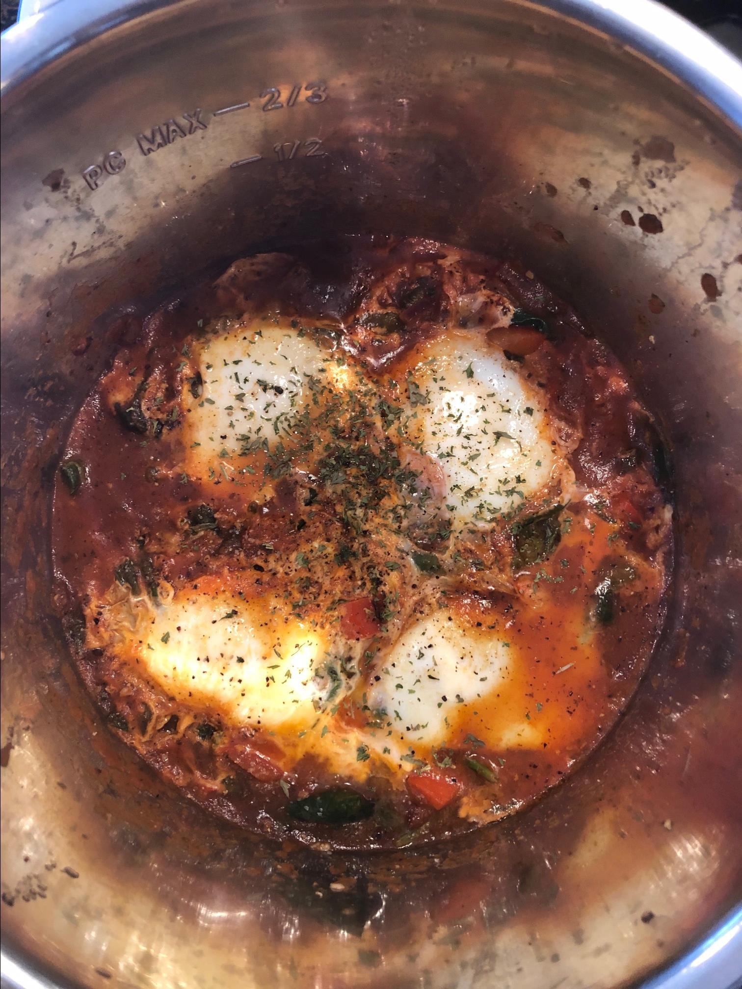 Instant Pot® Paleo and Keto Egg Shakshuka with Kale TWheeler